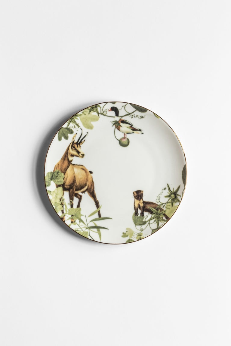 Italian Mont Blanc, Six Contemporary Porcelain Dinner Plates with Decorative Design For Sale