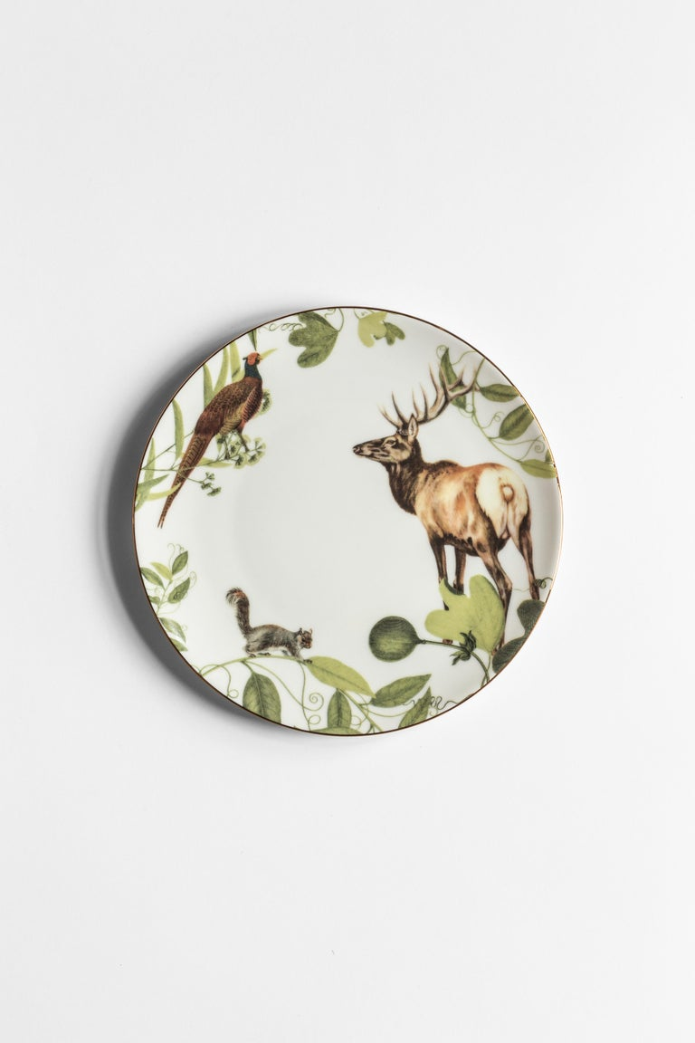 Mont Blanc, Six Contemporary Porcelain Dinner Plates with Decorative Design In New Condition For Sale In Milan, IT