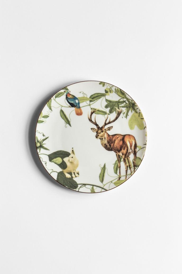 Mont Blanc, Six Contemporary Porcelain Dinner Plates with Decorative Design For Sale 1
