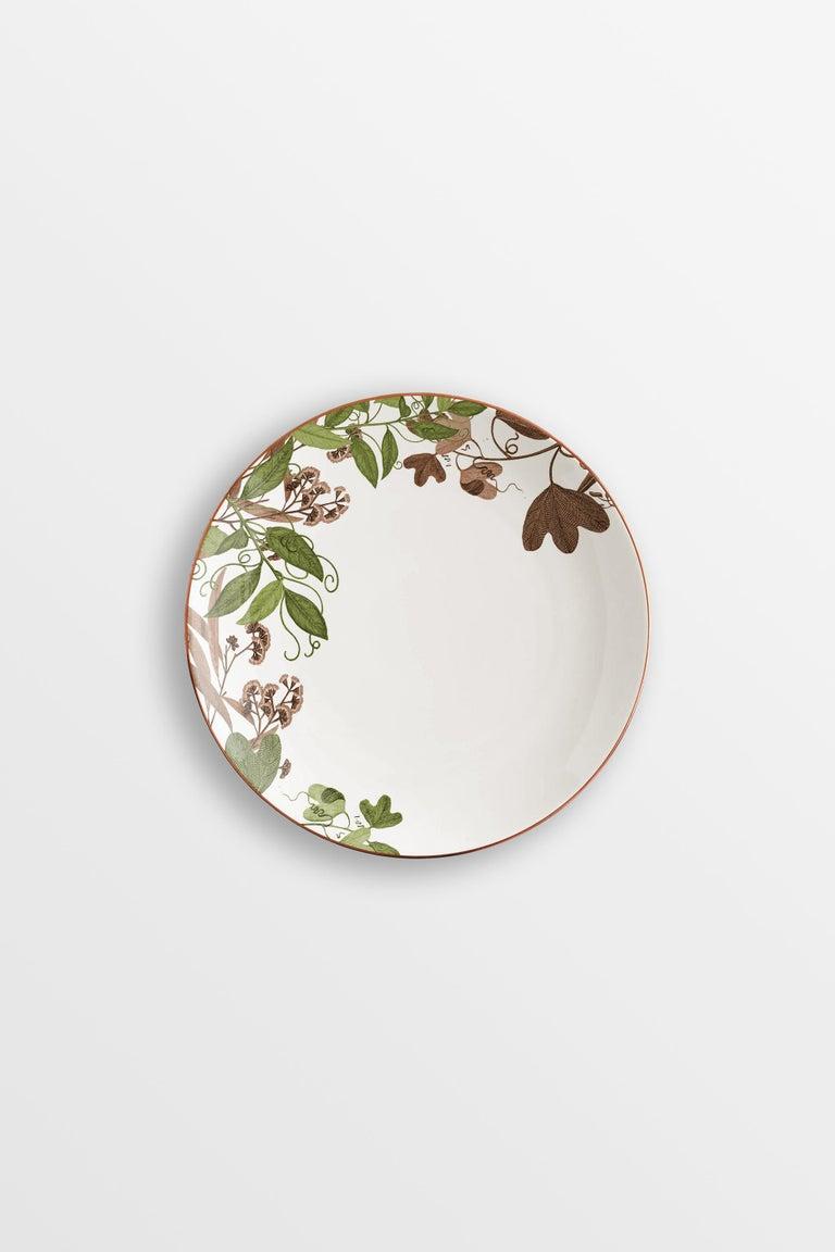 Mont Blanc, Six Contemporary Porcelain Dinner Plates with Decorative Design For Sale 2