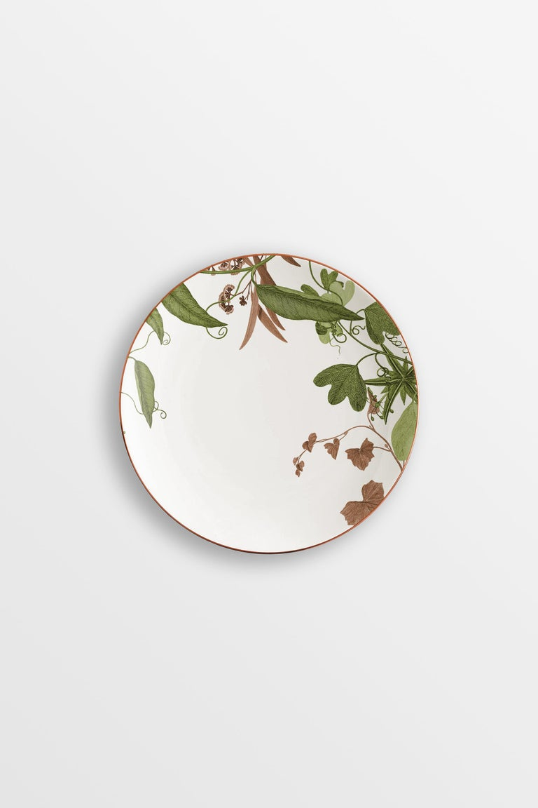 Mont Blanc, Six Contemporary Porcelain Dinner Plates with Decorative Design For Sale 3