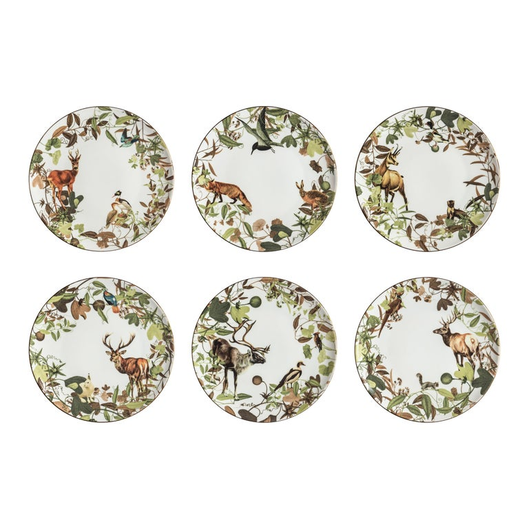 Mont Blanc, Six Contemporary Porcelain Dinner Plates with Decorative Design For Sale