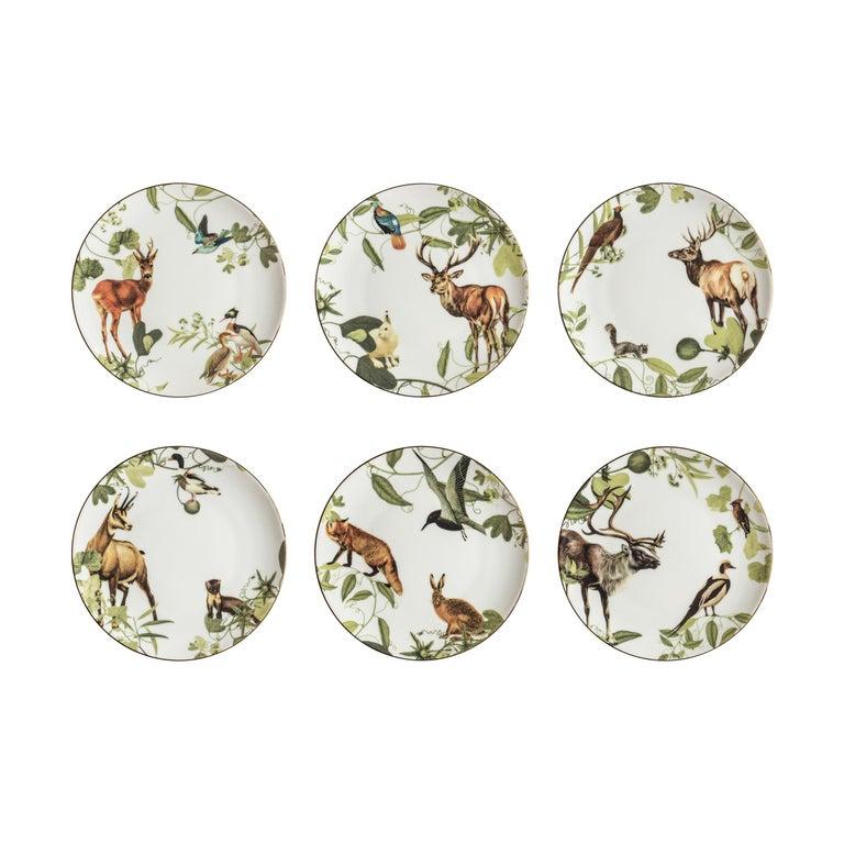 Mont Blanc, Six Contemporary Porcelain Dinner Plates with Decorative Design For Sale