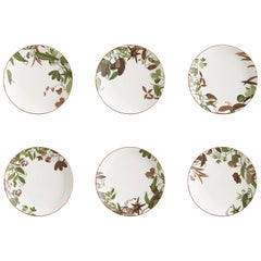 Mont Blanc, Six Contemporary Porcelain Dinner Plates with Decorative Design