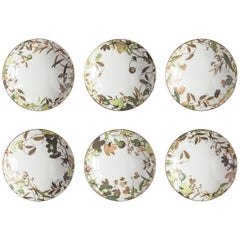 Mont Blanc, Six Contemporary Porcelain Soup Plates with Decorative Design