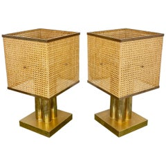 Montagnani Pair of Brass Wicker and Lucite Table Lamp, Italy, 1970s