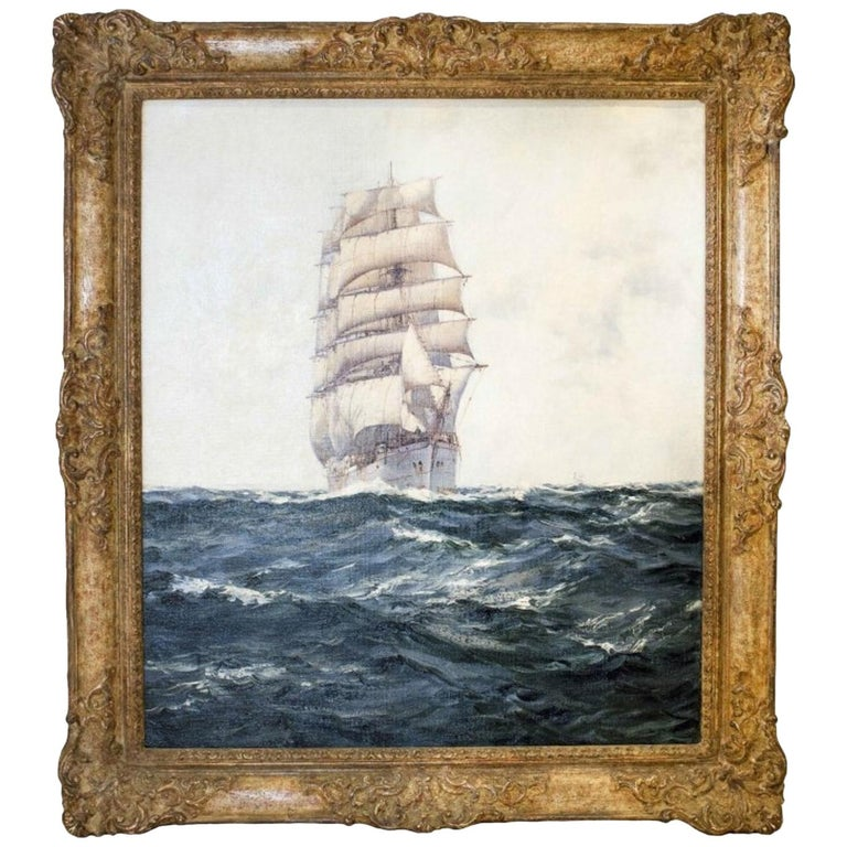 Montague Dawson, Deep Waters, Oil on Canvas Signed For Sale