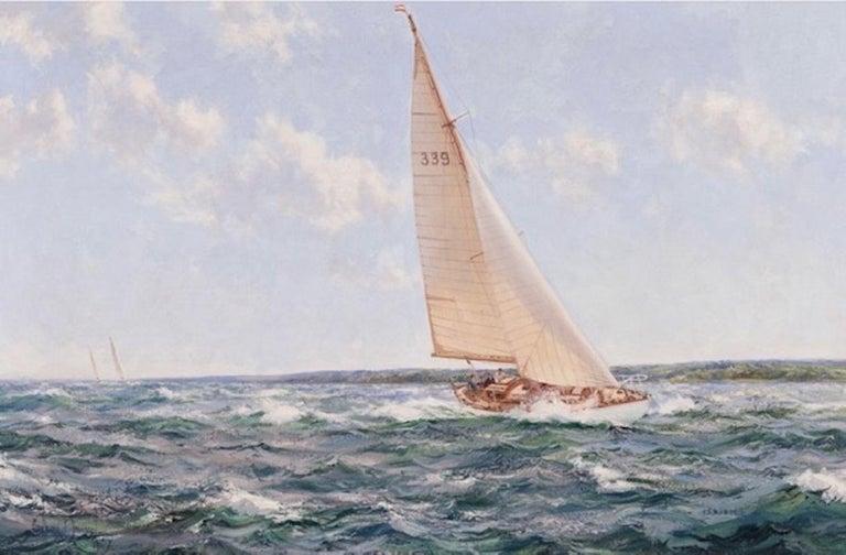 English Montague Dawson 'Down Solent' Showing 'Cohoe', the 1950 Transatlantic Race winn For Sale