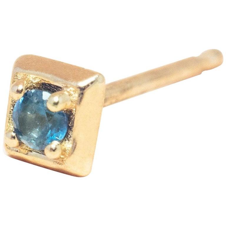 Montana Blue Sapphire 14 Karat Gold Formation Square Mini Stud