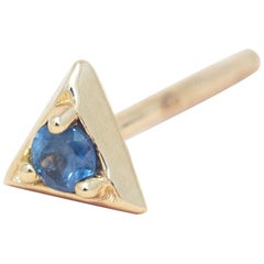 Montana Blue Sapphire 14 Karat Gold Formation Triangle Mini Stud