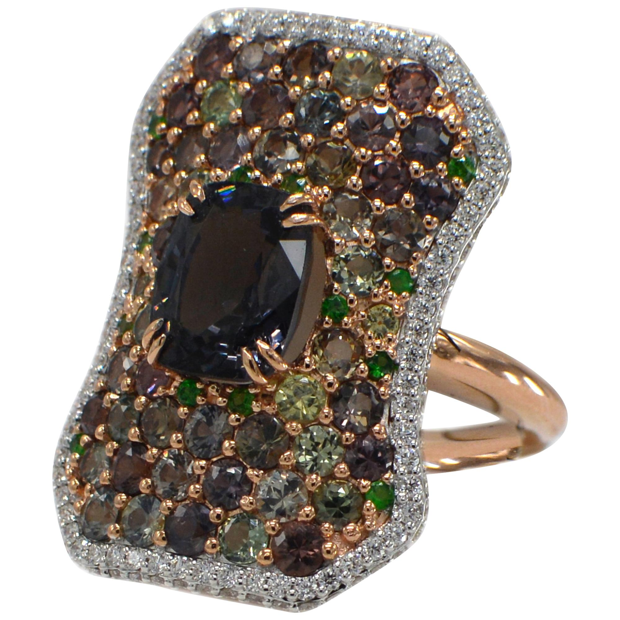Montana Sapphire and Spinel Ring 14 Karat Rose Gold Cushion Shape Spinel