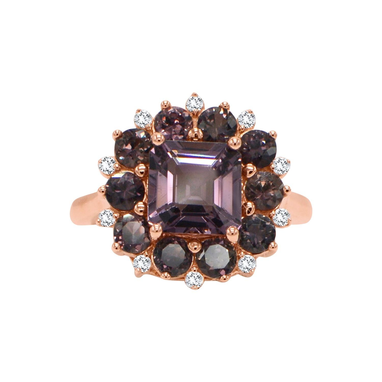 Montana Sapphire and Spinel Ring 14 Karat Rose Gold Square Shape Spinel