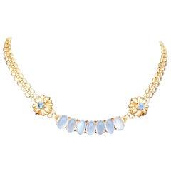 Montana Sapphire Moonstone Gold Necklace