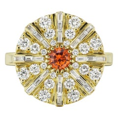Montana Tangerine Sapphire and Diamond Ring