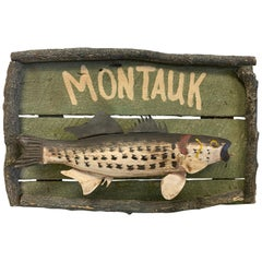 Montauk Long Island the Hampton's Folk Art Fishing Nautical Painting Sign
