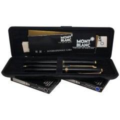 Montblanc 221 3 Piece Fountain Pen Mechanical Pencil Set 14K Gold Case 585 Vtg