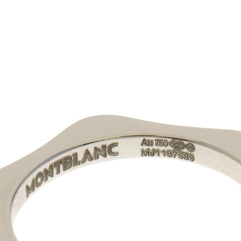 Women's Montblanc 4810 Star Diamond 18k White Gold Band Ring Size 50 For Sale