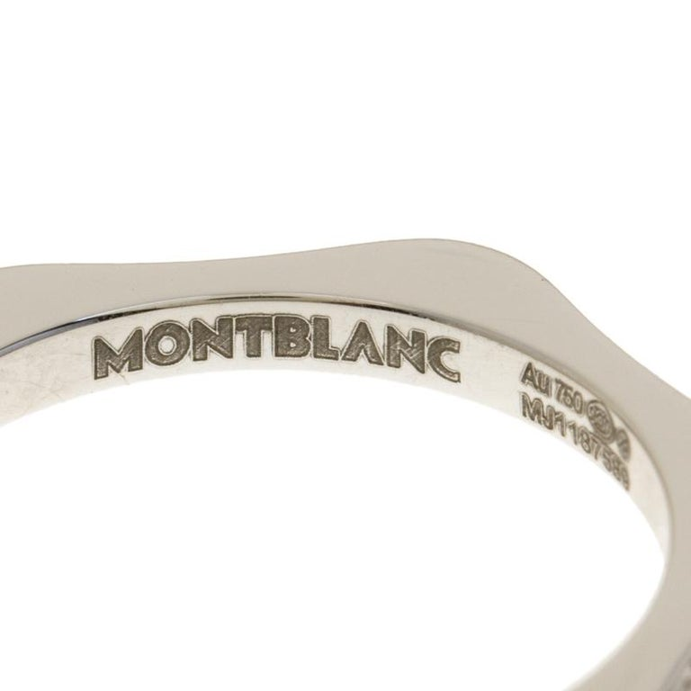 Montblanc 4810 Star Diamond 18k White Gold Band Ring Size 50 For Sale 1