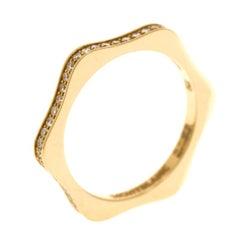 Montblanc 4810 Star Diamond 18k Yellow Gold Band Ring Size 52