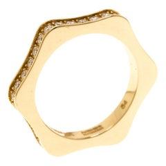 Montblanc 4810 Star Diamond 18k Yellow Gold Band Ring Size 54