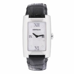 Montblanc 7077 Womens Quartz Watches Mop Diamon Stainless Steel Leather Strap