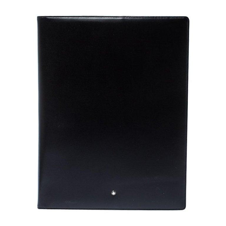 Montblanc Black Leather Conference Folder For Sale