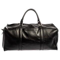 Montblanc Black Leather Weekender Duffel Bag