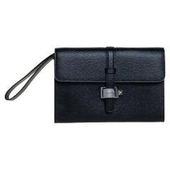 Montblanc Black Leather Westside Flap Wristlet Clutch