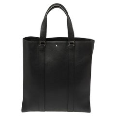 Montblanc Black Soft Grain Leather Meisterstuck Slim Tote