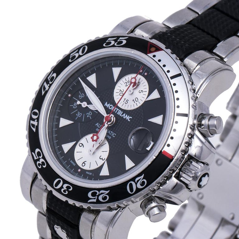 Created for watch lovers who go the extra mile in searching for high functionality watches, this Montblanc watch is a worthy buy. The stainless steel construction is complemented by black rubber and the watch has a case diameter of 41.50 mm. The