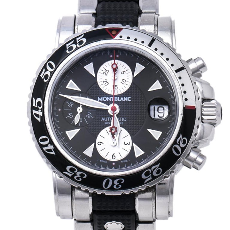 Contemporary Montblanc Black Sport XXL 102359 Automatic Chronograph Men's Wristwatch 41.50 mm For Sale