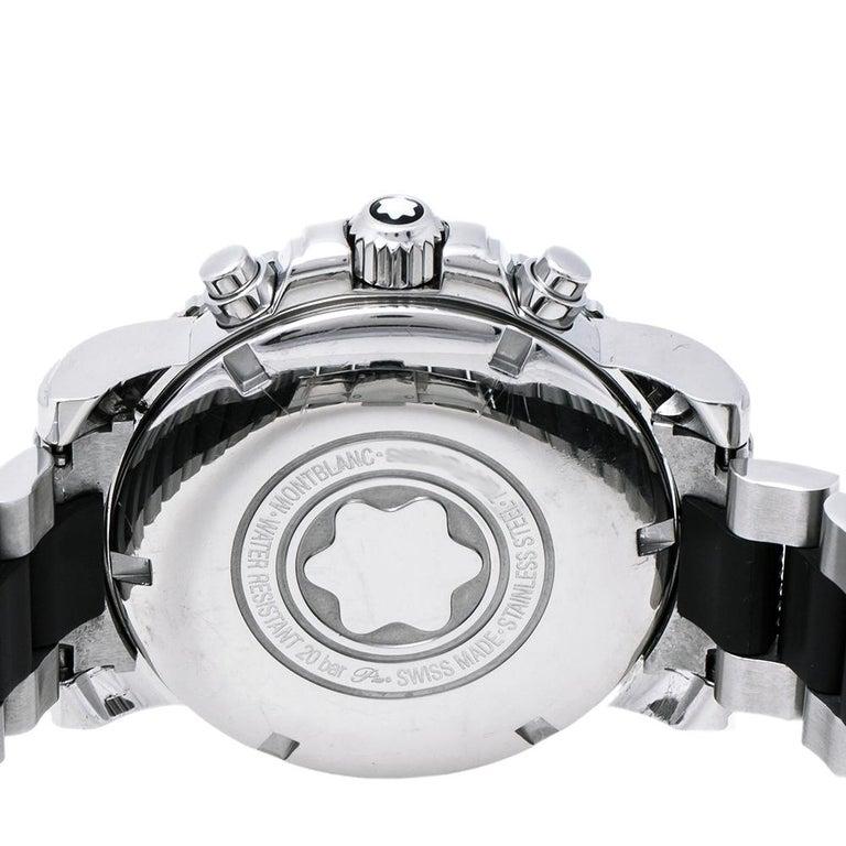 Montblanc Black Sport XXL 102359 Automatic Chronograph Men's Wristwatch 41.50 mm In Good Condition For Sale In Dubai, Al Qouz 2