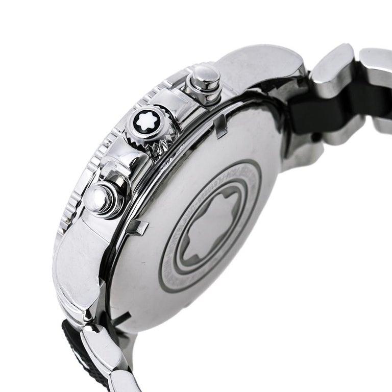 Montblanc Black Sport XXL 102359 Automatic Chronograph Men's Wristwatch 41.50 mm For Sale 2