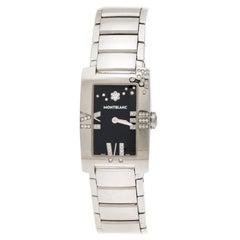 Montblanc Black Stainless Steel Diamond Profile 7112 Women's Wristwatch 23 mm