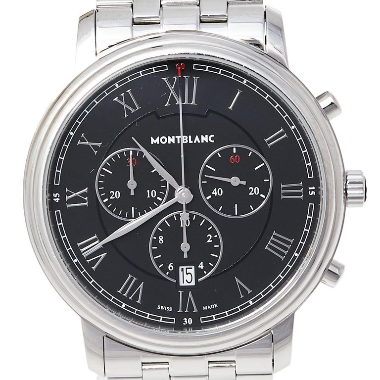 Contemporary Montblanc Black Stainless Steel Tradition 7374 Men's Wristwatch 42 mm For Sale