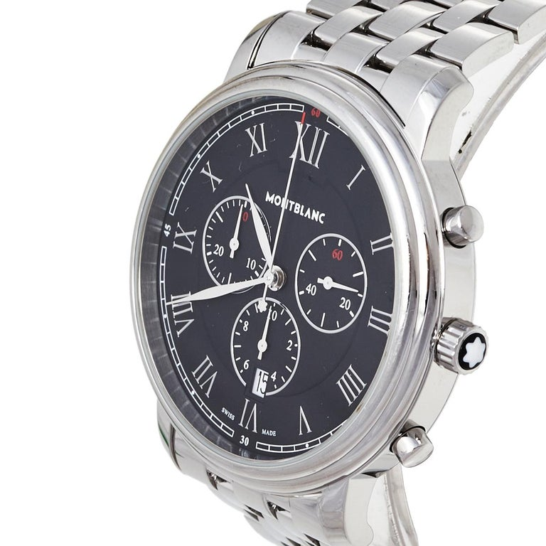 Montblanc Black Stainless Steel Tradition 7374 Men's Wristwatch 42 mm In Good Condition For Sale In Dubai, Al Qouz 2