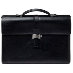Montblanc Black Textured Leather Westside Double Gusset Briefcase