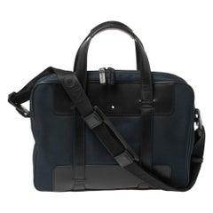 Montblanc Blue/Black Nylon and Leather Nightflight Document Case