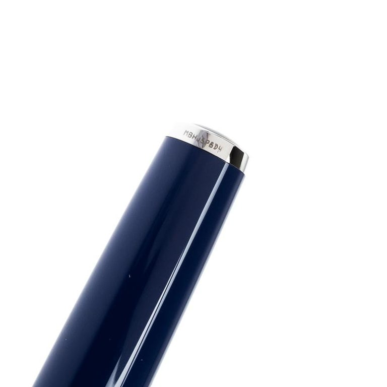 Montblanc Blue Resin Platinum Finish Ballpoint Pen For Sale 1