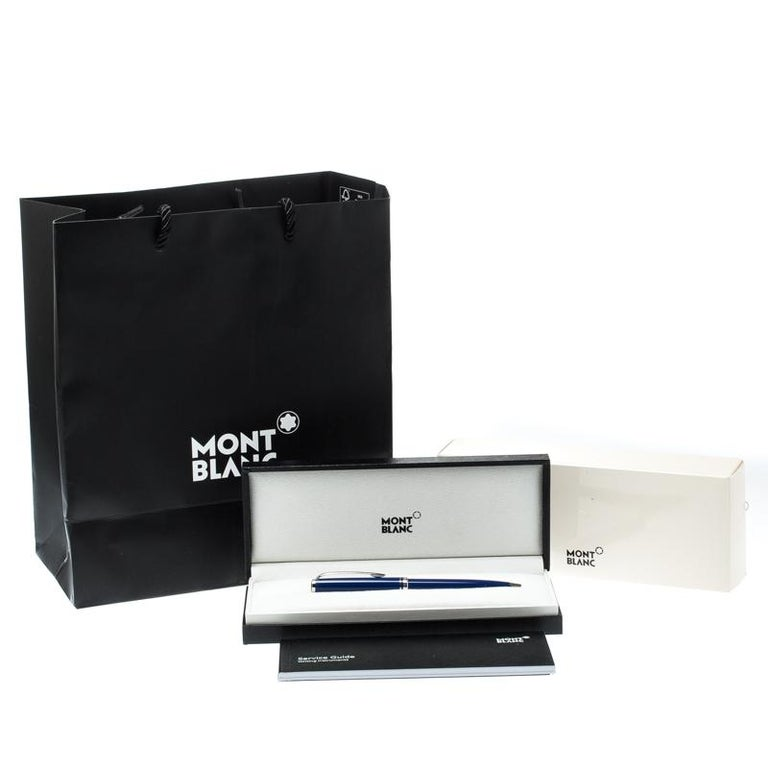 Montblanc Blue Resin Platinum Finish Ballpoint Pen For Sale 2