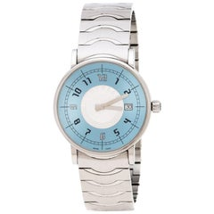 Montblanc Blue Silver White Stainless Steel Summit 7045 Men's Wristwatch 38 mm