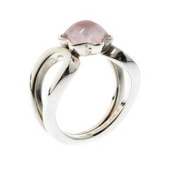 Montblanc Cabochon de Montblanc Rosenquarz Silber Ring Größe 54