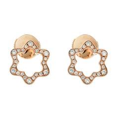 Montblanc Emblem 4810 Diamond 18k Rose Gold Stud Earrings