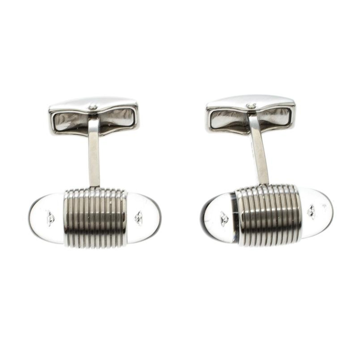 c9a77c6dc082c Montblanc Floating Star Diamond Stainless Steel Oval Cufflinks For Sale at  1stdibs