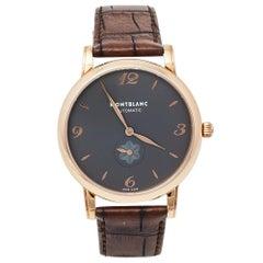 Montblanc Grey 18K Rose Gold & Leather Star Classique 107075 Men's Wristwatch 39