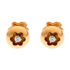Montblanc Logo Diamond 18k Rose Gold Round Stud Earrings