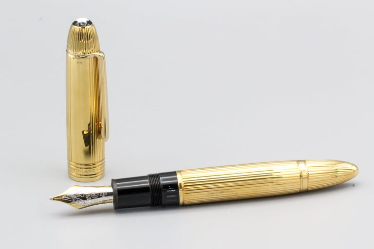 Contemporary Montblanc Meisterstuck Solitaire 149 Large Gold Fountain Pen For Sale