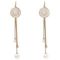 Montblanc Mother of Pearl Diamond 18k Rose Gold Drop Tassel Earrings