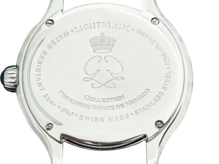 Montblanc Princess Grace De Monaco ladies watch. Stainless steel dial. Crocodile leather white band. 100% genuine and original watch. Case diameter: 34mm. Arabic numerals. Sapphire glass. Buckle clasp. Water resistant up to 30 meters. Quartz