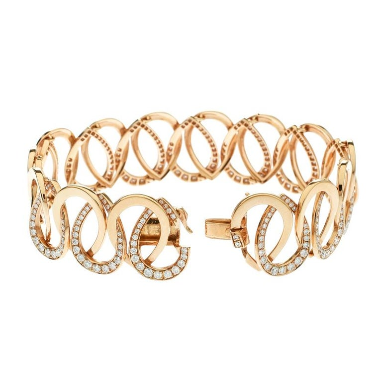 Contemporary Montblanc Princesse Grace de Monaco Petal Diamond 18k Rose Gold Bracelet For Sale